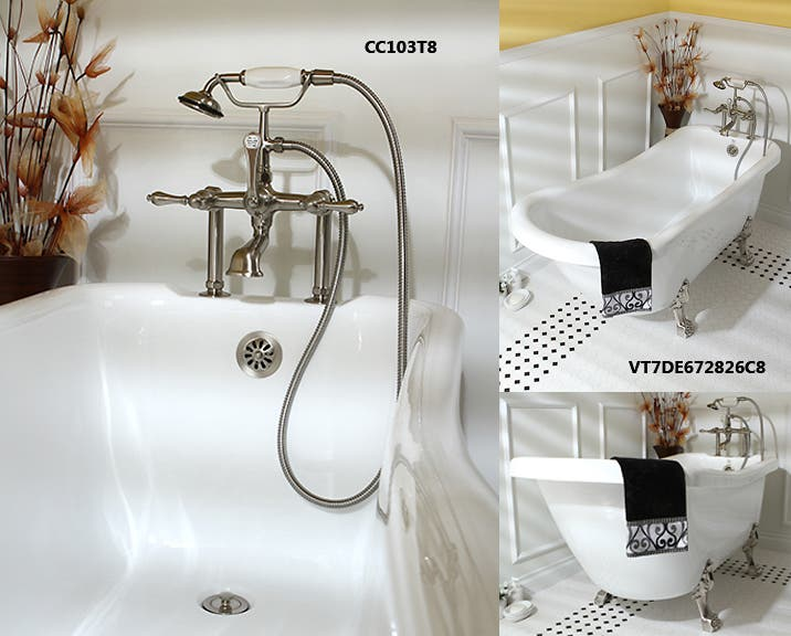 Acrylic Clawfoot Tubs, Bathroom, Bathtubs, Cast Iron Tubs, Clawfoot Tubs,  Featured, Kingston Brass, Tub And Shower Faucet