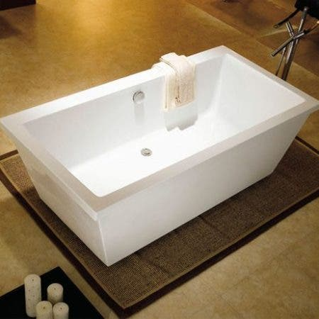 Aqua Eden VTSQ663422 66-Inch Acrylic Double Ended Freestanding Tub with Drain, White