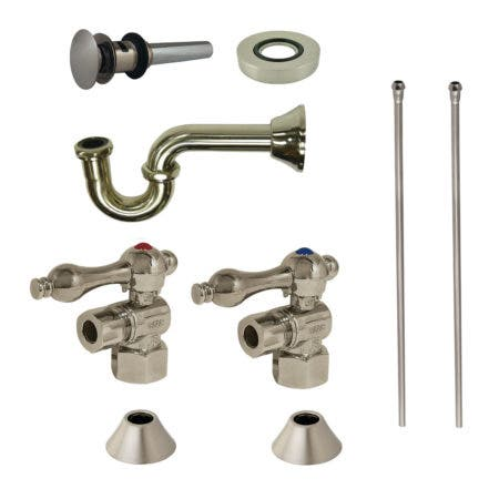 Kingston Brass CC43108VOKB30 Traditional Plumbing Sink Trim Kit with P-Trap and Drain, Brushed Nickel