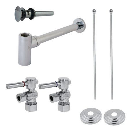 Kingston Brass CC53301DLTRMK2 Modern Plumbing Sink Trim Kit with Bottle Trap and Overflow Drain, Polished Chrome