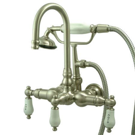 Kingston Brass CC9T8 Vintage 3-3/8-Inch Wall Tub Faucet with Hand shower, Brushed Nickel