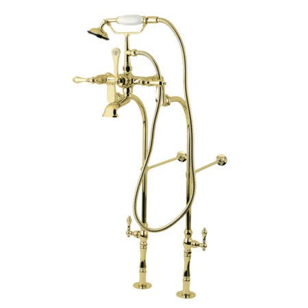 Kingston Brass CCK103T2 Vintage Tub Filler Combo with Lever Handle and Supply Lines, Polished Brass