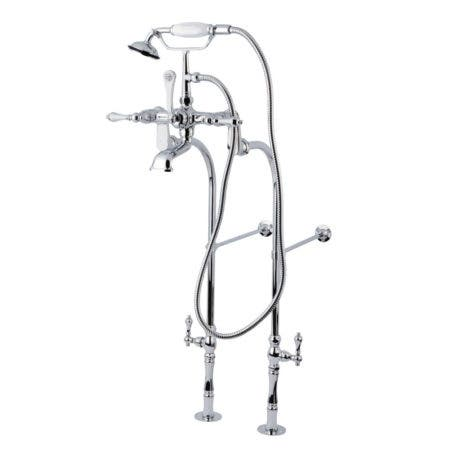 Kingston Brass CCK104T1 Vintage Tub Filler Combo with Lever Handle and Supply Lines, Polished Chrome