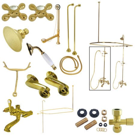 Kingston Brass CCK1142AX Vintage Clawfoot Tub Package with Metal Cross Handles, Polished Brass