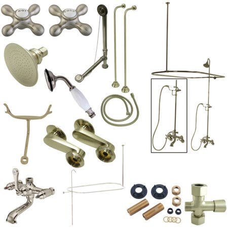Kingston Brass CCK1148AX Vintage Clawfoot Tub Faucet Package, Brushed Nickel