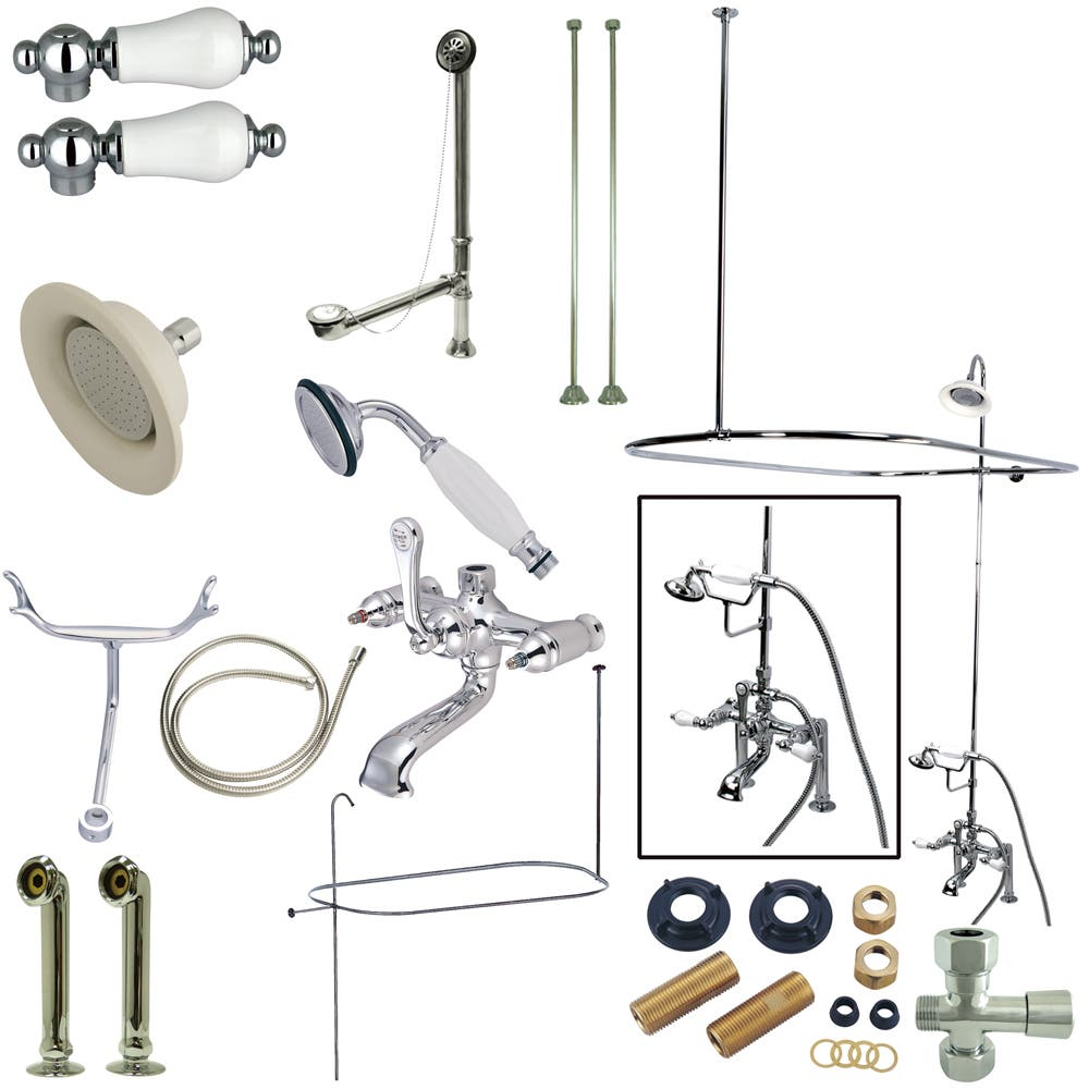 Kingston Br Cck1171dpl Vintage 7 Inch Center Clawfoot Tub Fixture With Shower Riser Package Combo Polished Chrome
