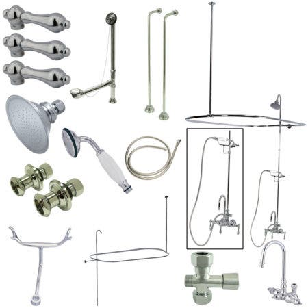 Kingston Brass CCK2141AL Vintage High Rise Gooseneck Clawfoot Tub and Shower Package with Metal Lever Handles, Polished Chrome