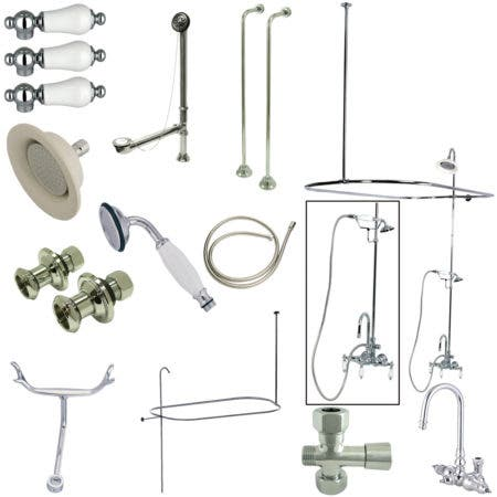 Kingston Brass CCK2141PL Vintage High Rise Gooseneck Clawfoot Tub and Shower Package with Porcelain Lever Handles, Polished Chrome