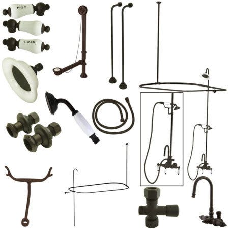 Kingston Brass CCK2145HCPL Vintage High Rise Gooseneck Clawfoot Tub and Shower Package with Porcelain Lever Handles, Oil Rubbed Bronze