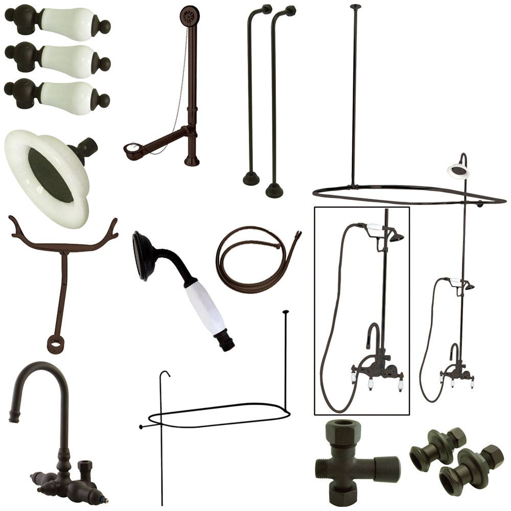 Kingston Brass CCK2145PL Vintage High Rise Gooseneck Clawfoot Tub and Shower Package with Porcelain Lever Handles, Oil Rubbed Bronze