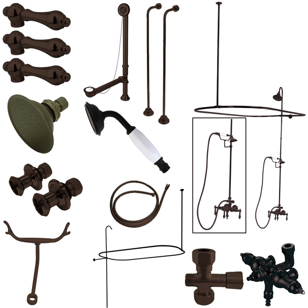 Kingston Brass CCK3145AL Vintage Wall Mount Down Spout Clawfoot Tub and Shower Package with Metal Lever Handles, Oil Rubbed Bronze