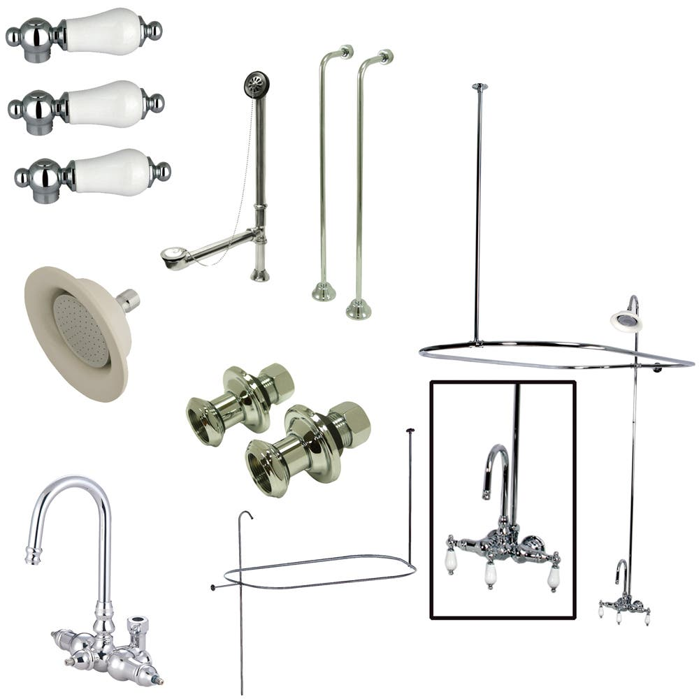 Kingston Brass CCK4141PL Vintage Wall Mount High Rise Clawfoot Tub and Shower Package with Porcelain Lever Handles, Polished Chrome