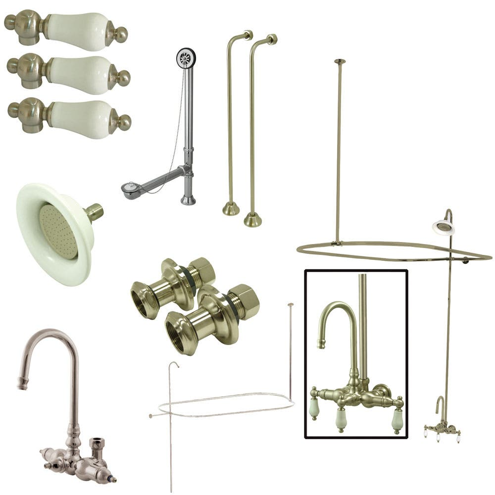 Kingston Brass CCK4148PL Vintage Wall Mount High Rise Clawfoot Tub and Shower Package with Porcelain Lever Handles, Brushed Nickel