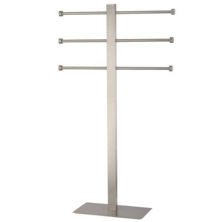 Kingston Brass CCS6028 Freestanding Stainless Steel Towel Holder with Rectangular Base, Brushed Nickel