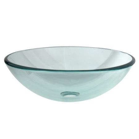 Fauceture EVSPCC1 Templeton 16-1/2 Inch Round Tempered Glass Vessel Sink, Crystal Clear