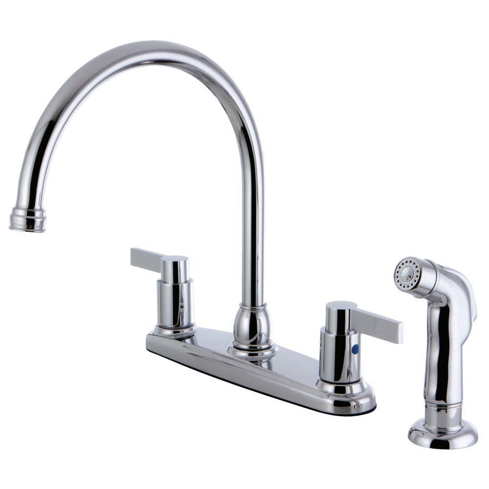 Kingston Brass FB2791NDLSP 8-Inch Center Gooseneck Kitchen Faucet, Polished Chrome