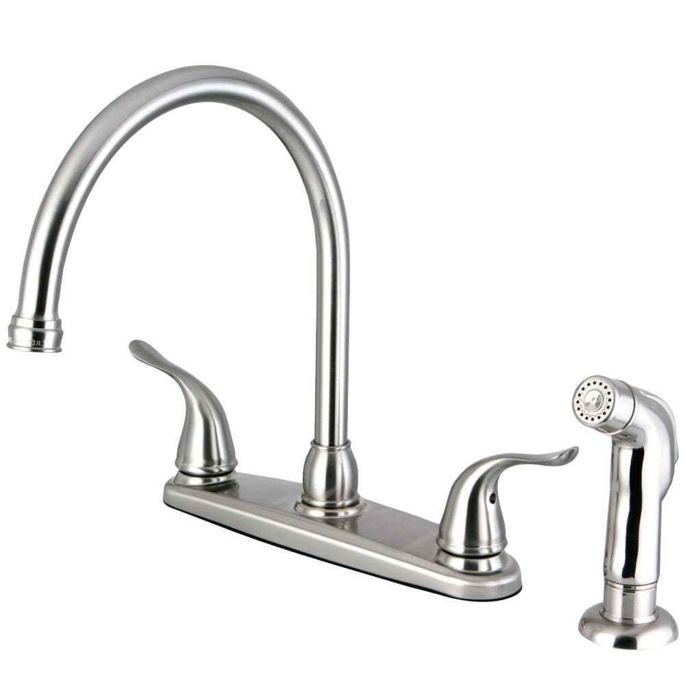 Kingston Brass FB2798YLSP 8-Inch Centerset Kitchen Faucet with Sprayer, Brushed Nickel