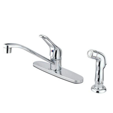 Kingston Brass FB562SP Wyndham Single Handle 8-Inch Centerset Kitchen Faucet with Sprayer, Polished Chrome