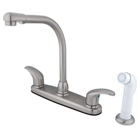 Kingston Brass FB718LL Legacy 8-Inch Centerset Kitchen Faucet with Sprayer, Brushed Nickel