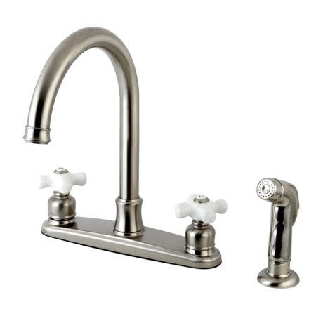 """Kingston Brass FB7798PXSP Victorian 8"""" Centerset Kitchen Faucet with Sprayer, Brushed Nickel"""