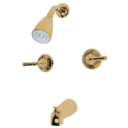 Kingston Brass GKB242 Water Saving Magellan 2-Handle Tub and Shower Faucet with Water Savings Showerhead, Polished Brass