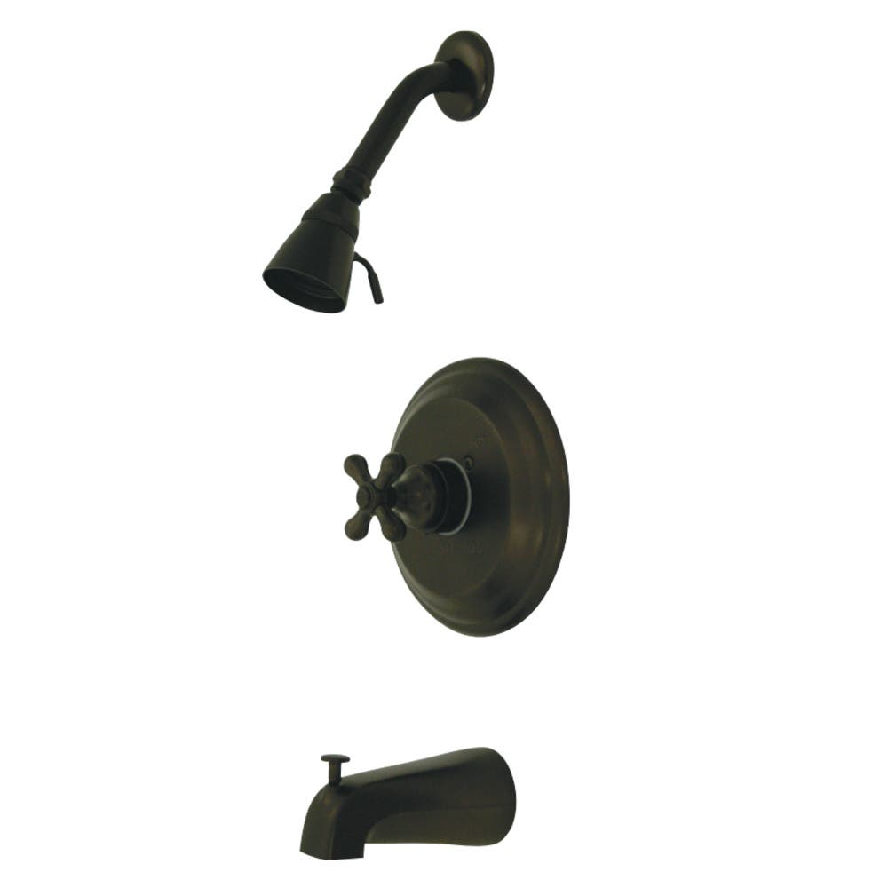 Kingston Brass GKB3635AX Water Saving Restoration Tub and Shower Faucet with Cross Handles, Oil Rubbed Bronze