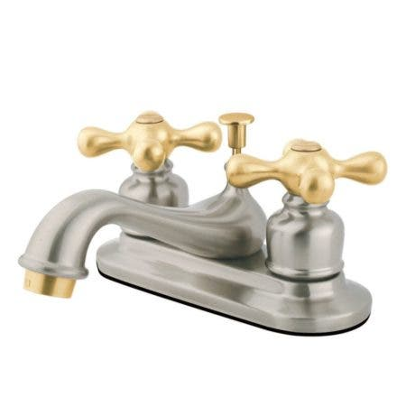 Kingston Brass GKB609AX 4 in. Centerset Bathroom Faucet, Brushed Nickel/Polished Brass
