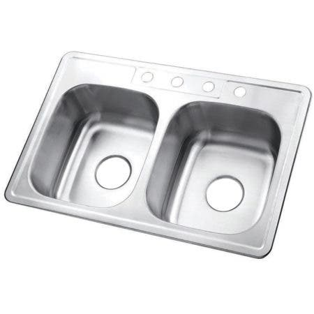 Gourmetier GKTD33226 Drop-in Double Bowl Kitchen Sink, Brushed