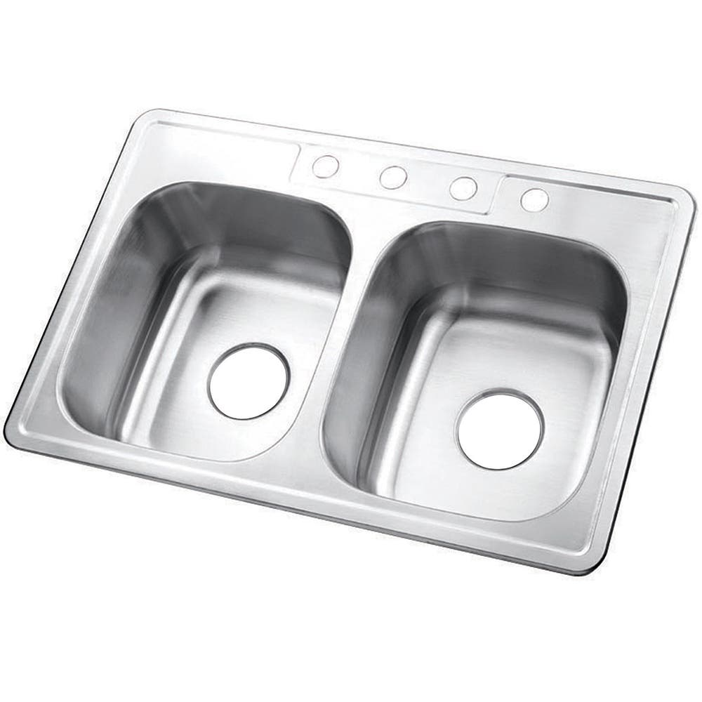 Gourmetier GKTD33227 Drop-in Double Bowl Kitchen Sink, Brushed