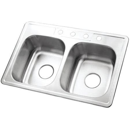 Gourmetier GKTD33228 Drop-in Double Bowl Kitchen Sink, Brushed
