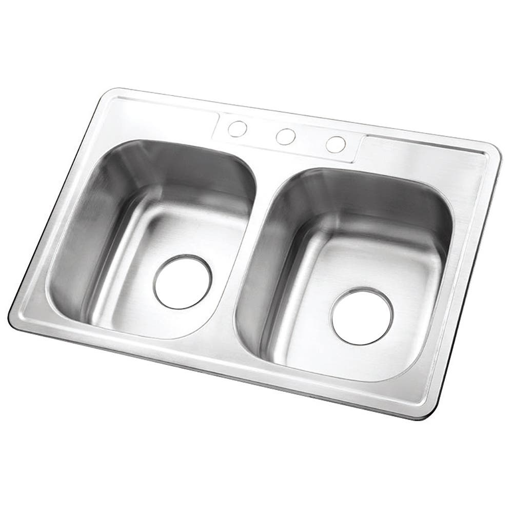 Gourmetier GKTD332283 Drop-in Double Bowl Kitchen Sink, Brushed