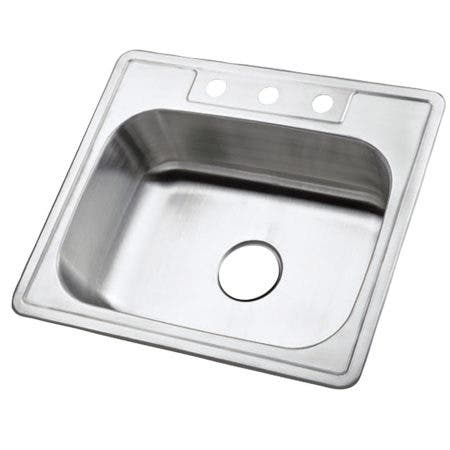 """Gourmetier GKTS2520 25"""" Stainless Steel Drop-in Single Bowl Kitchen Sink, Brushed"""
