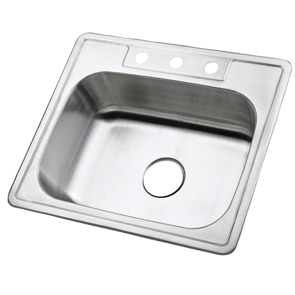 Gourmetier GKTS2520 Drop-in Single Bowl Kitchen Sink, Brushed
