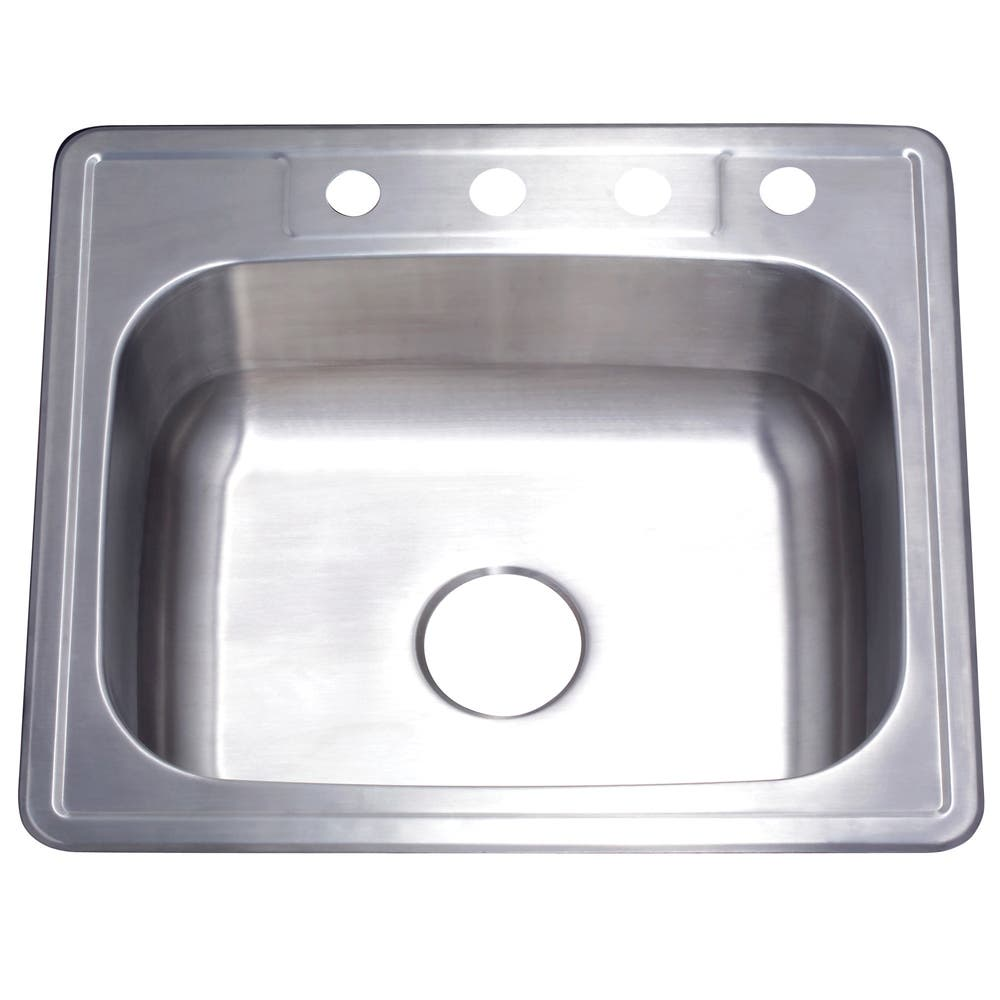 Gourmetier GKTS2522 Drop-in Single Bowl Kitchen Sink, Brushed