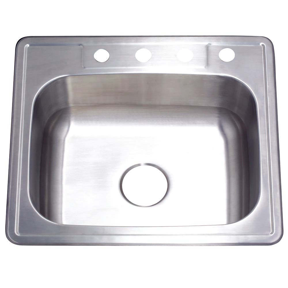 Gourmetier GKTS252210 Drop-in Single Bowl Kitchen Sink, Brushed