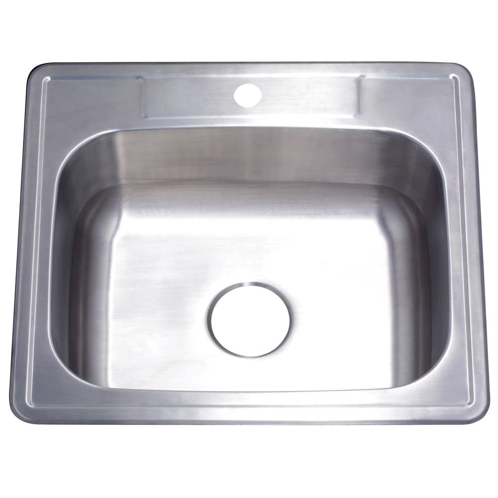 Gourmetier GKTS252281 Drop-in Single Bowl Kitchen Sink, Brushed