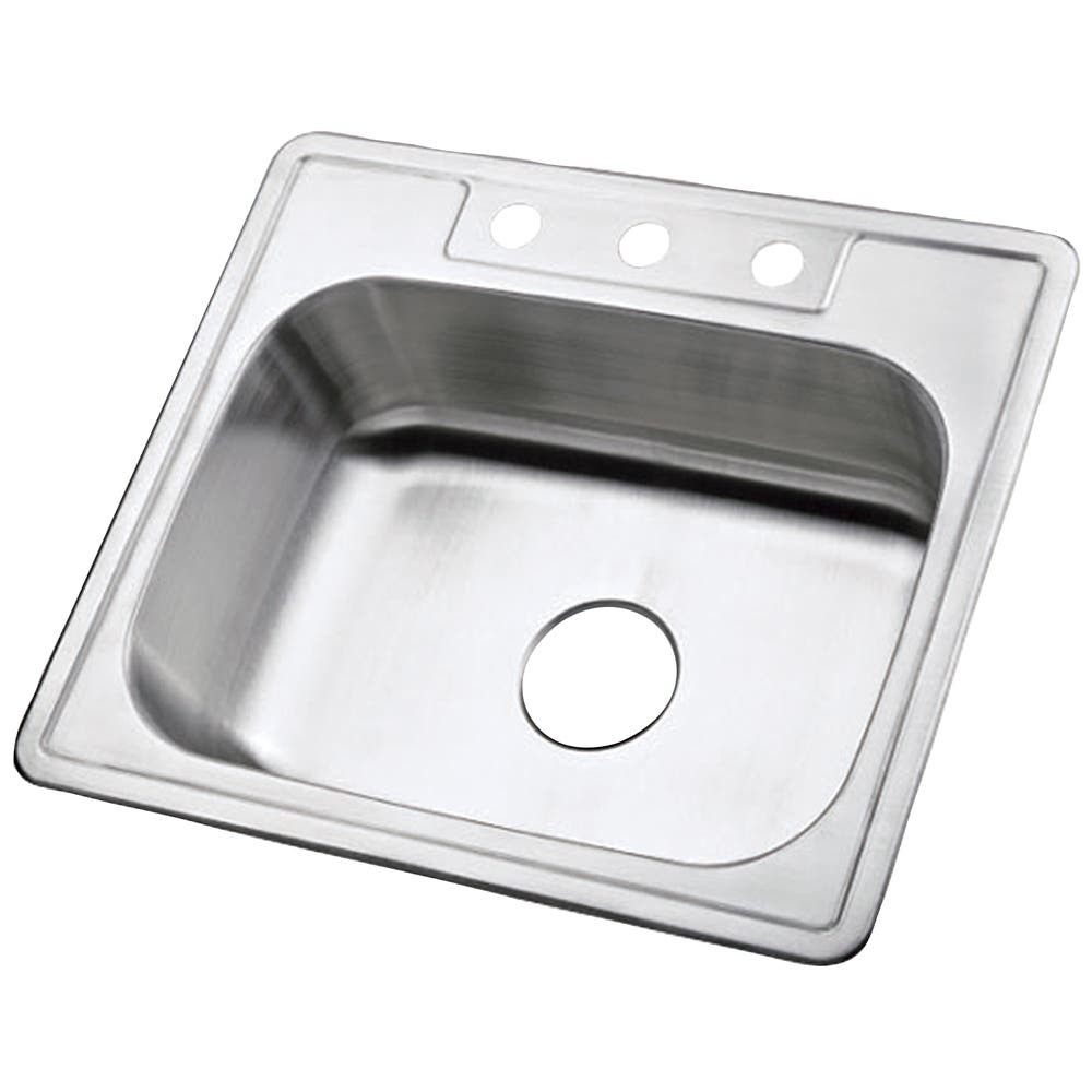 Gourmetier K25228BN Carefree Drop-in Single Bowl Kitchen Sink, Brushed