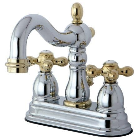 Kingston Brass KB1604AX Heritage 4 in. Centerset Bathroom Faucet, Polished Chrome/Polished Brass