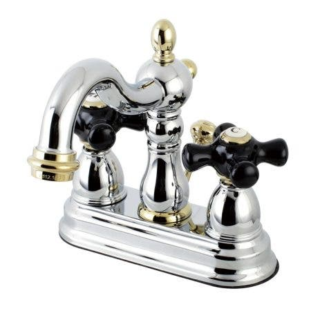 Kingston Brass KB1604PKX 4 in. Centerset Bathroom Faucet, Polished Chrome/Polished Brass