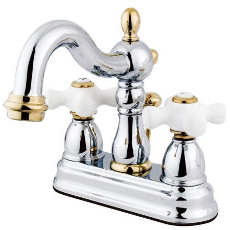 Kingston Brass KB1604PX Heritage 4 in. Centerset Bathroom Faucet, Polished Chrome/Polished Brass