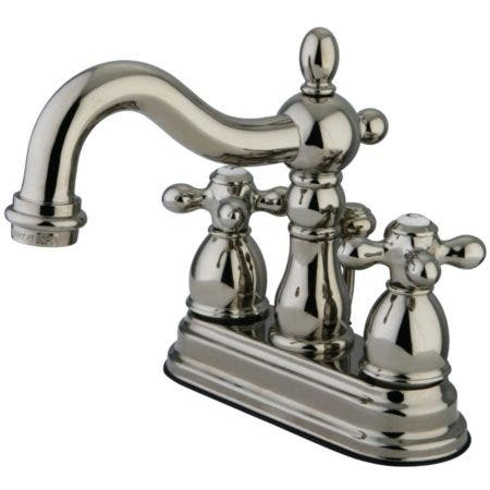 Kingston Brass KB1606AX Heritage 4 in. Centerset Bathroom Faucet, Polished Nickel