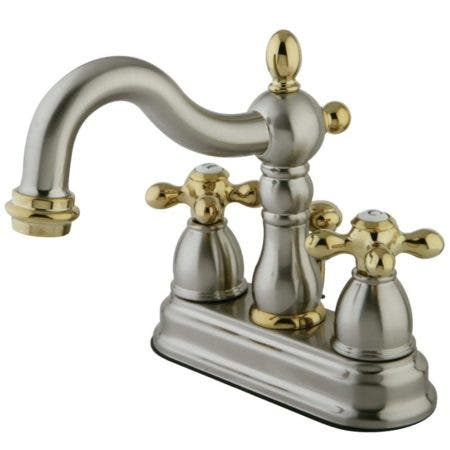 Kingston Brass KB1609AX Heritage 4 in. Centerset Bathroom Faucet, Brushed Nickel/Polished Brass