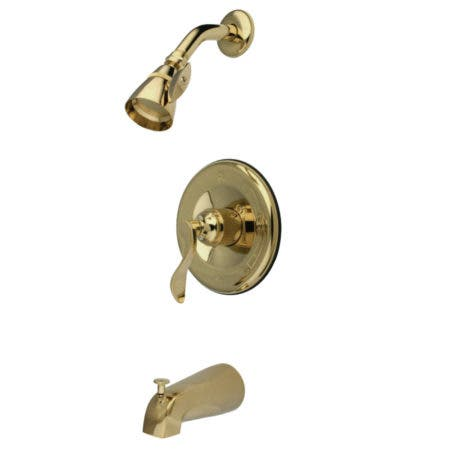 Kingston Brass KB1632DFL NuFrench Tub & Shower Faucet, Polished Brass