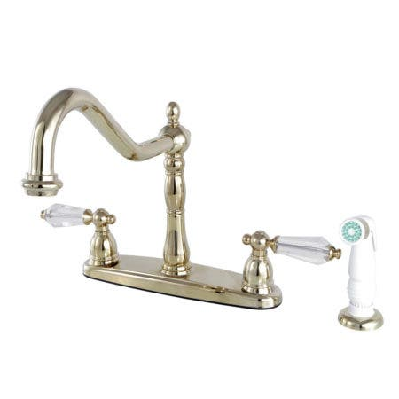 Kingston Brass KB1752WLL Wilshire 8-Inch Centerset Kitchen Faucet with Sprayer, Polished Brass