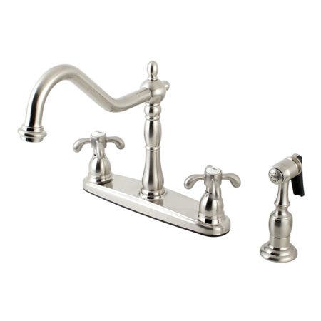 Kingston Brass KB1758TXBS French Country Centerset Kitchen Faucet, Brushed Nickel