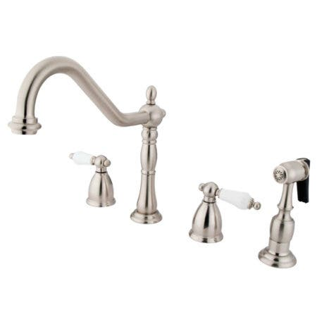 Kingston Brass KB1798PLBS Widespread Kitchen Faucet, Brushed Nickel