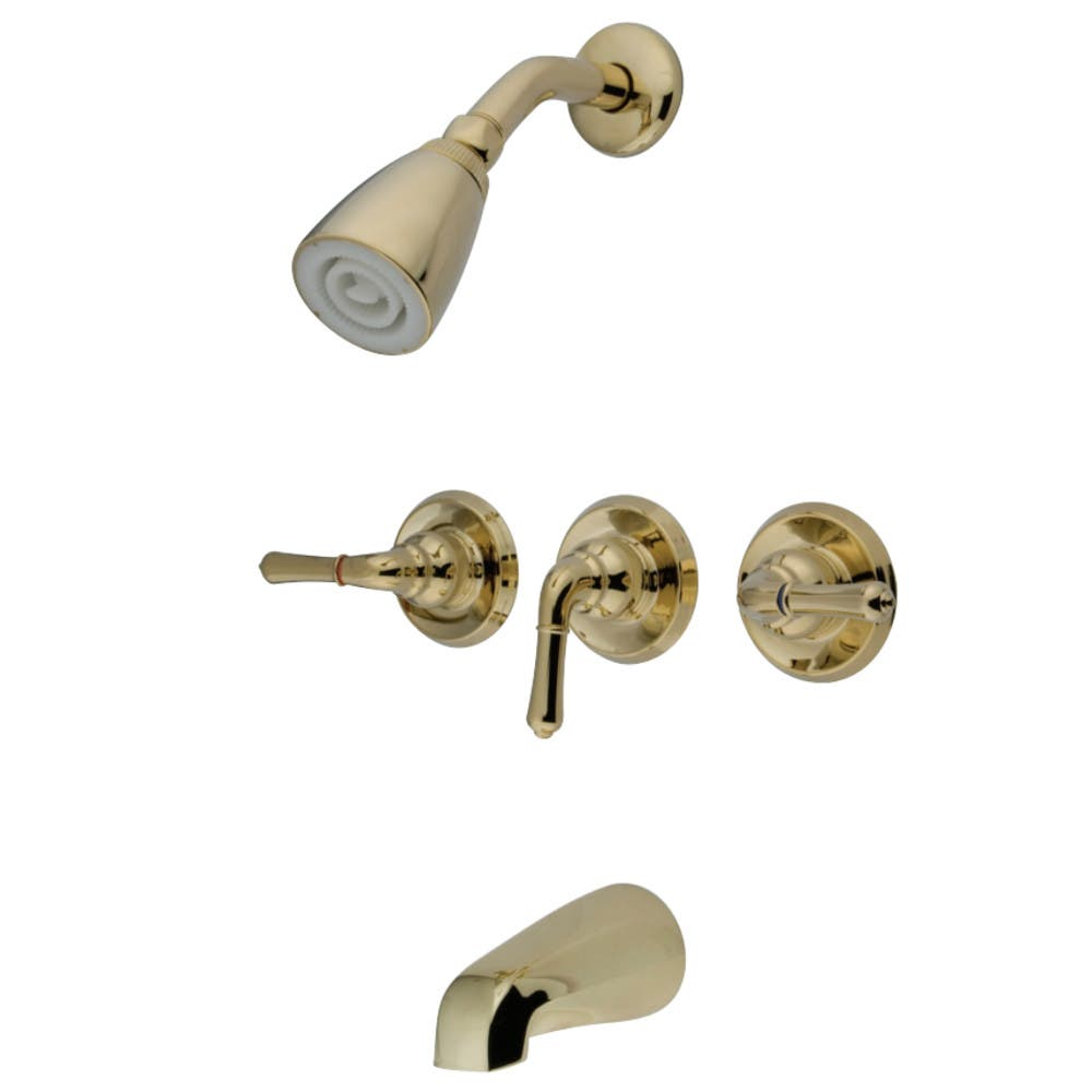 ... Tub And Shower Faucet With 3 Handles, Polished Brass Return To Previous  Page. Lightbox
