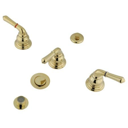 Kingston Brass KB322 Magellan Bidet Faucet With Three Lever Handle And Pop-Up, Polished Brass