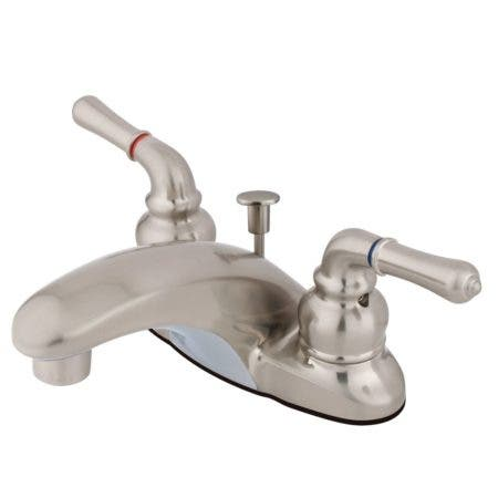 Kingston Brass KB628 4 in. Centerset Bathroom Faucet, Brushed Nickel