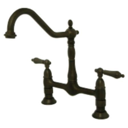 Kingston Brass KS1175AL Heritage Bridge Kitchen Faucet, Oil Rubbed Bronze